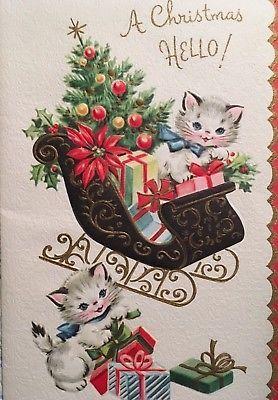 Vintage Mid Century Unused Christmas Card Kittens Sleigh Full Of Xmas Presents