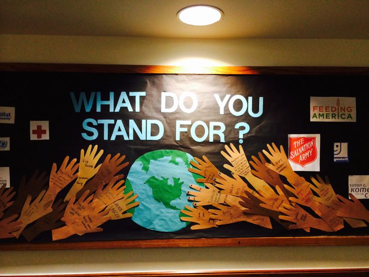 College RA bulletin board. What do you stand for? Residents wrote a cause, charity, or organization they are passionate about.