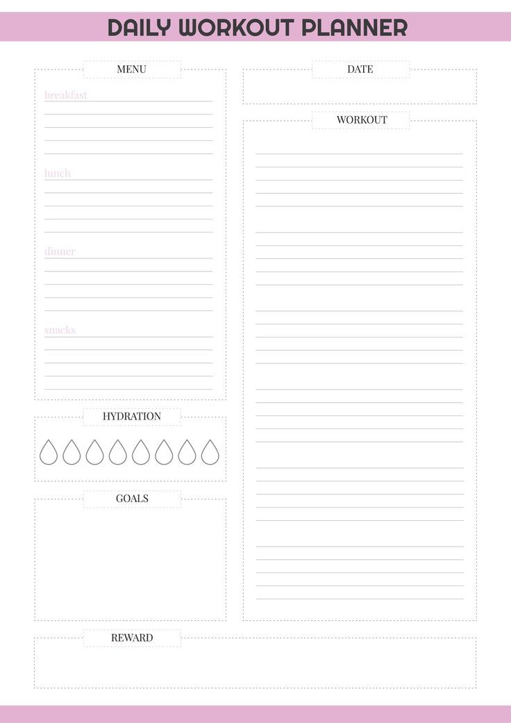 Daily Pdf Planner Printable Workout Daily Workout Planner