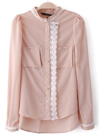 Apricot Stand Collar Long Sleeve Lace Chiffon Blouse