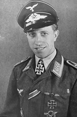 ✠ Rudolf Frank (19 August 1920 – 27 April 1944) attacked a Lancaster, which exploded and fatally damaged his aircraft. Frank ordered his crew to bail out but was unable to save himself.