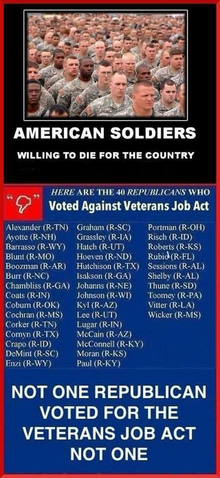This is for the apparent Vet loving Republicans...if you love your vets, vote like it.