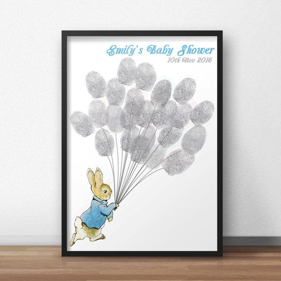 Peter Rabbit Baby Shower Guest Book Poster, Peter holding Balloons,Beatrix Potter Baby Shower Thumbprint Guestbook Poster, Fingerprint