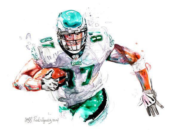 Watercolor portrait of Philadelphia Philadelphia Eagles Football player Brent Celek- giclee from original
