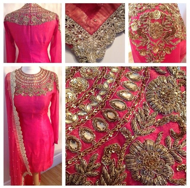 Pink Silk and Antique Handwork with Classy Kundans. Get this made on www.faaya.in