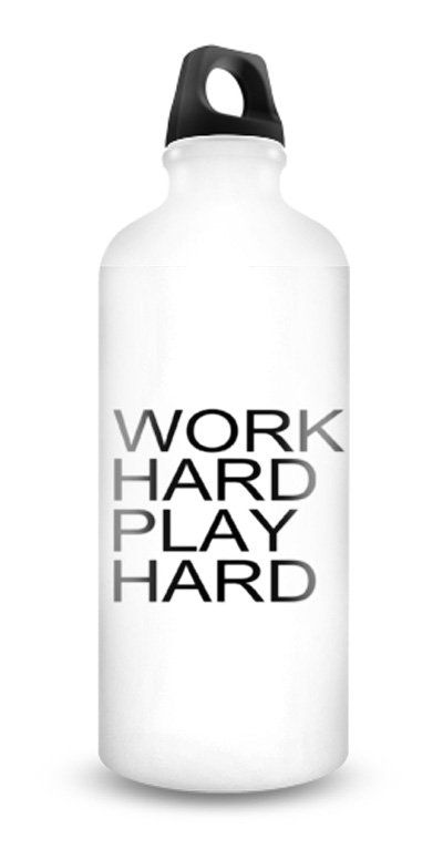"Work Hard Play Hard Bottle by Trip House. Rp100.000. White base bottle and ""Work Hard Play Hard"" typography, a sport bottle that you can carry everywhere, suitable for sport, or to support your healthy life, fun bottle to carry everywhere. http://www.zocko.com/z/JIilb"