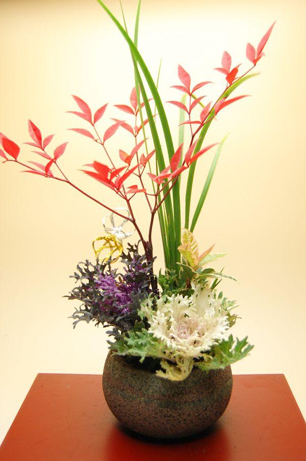 RK:いけばな:葉牡丹寄せ植え 新年の生け花