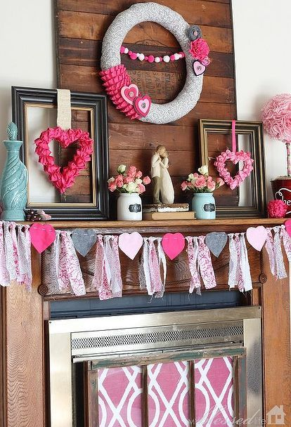 valentine s day mantel, fireplaces mantels, seasonal holiday d cor, valentines day ideas, wreaths, I went with a little different theme for Valentine s Day Grey Hot Pink Light pink and Aqua I think it s such a fun combination
