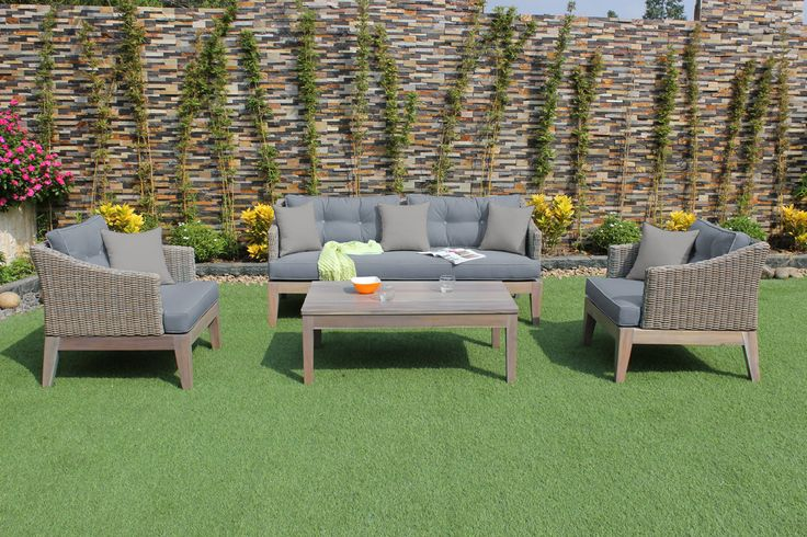 "Renava Coronado Outdoor Sofa Set. The Renava Coronado Outdoor Sofa Set gives your patio or garden style featuring a wood frame with exquisite poly rattan wicker. It comes with 4-inch thick cushions wrapped in grey waterproof fabric featuring tufts and seamed edges. This modern outdoor sofa set comes with a rectangular solid wood coffee table. Dimensions: Sofa: W68"" x D31"" x H28""  Chair: W30"" x D31"" x H28""  Coffee Table: W55"" x D20"" x H18"" Color: Grey Finish:   -"
