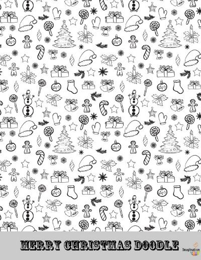 free coloring page of Christmas doodles!