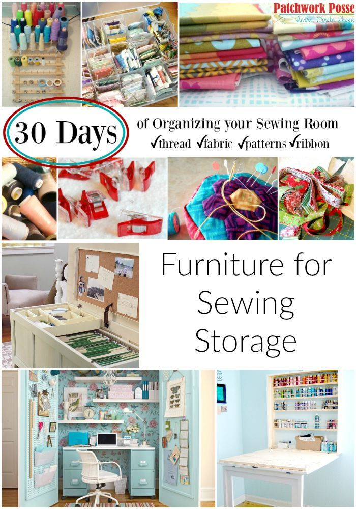 Furniture for Sewing Storage -the large cabinet would be awesome. Great ideas.