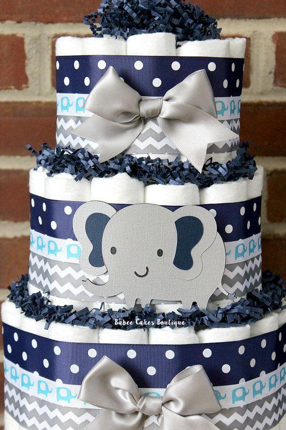 Pastel de pañal elefante azul gris nivel 3 y Marina de guerra
