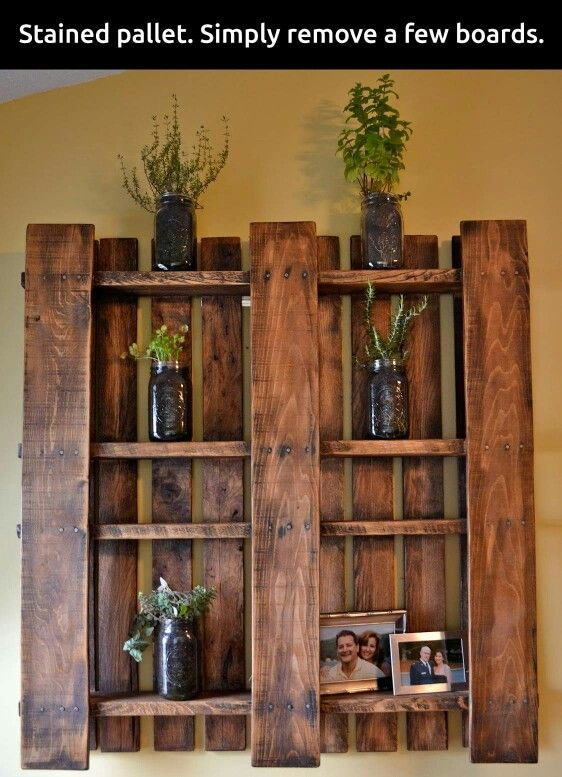 Get a wooden pallet, remove a few boards and stain....walaa!