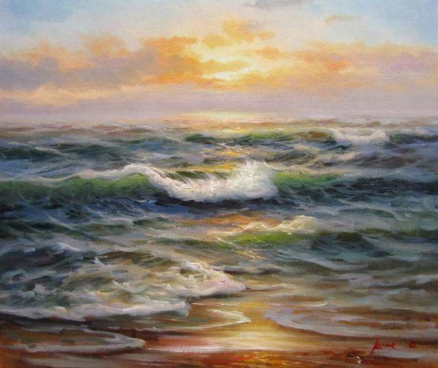 Impresionista pintado a Waves Seascape pintura al óleo decoración del hogar arte de la pared de la madrugada amanecer arte moderno arte contemporáneo
