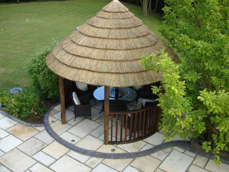 One of our Gazebos - Premium Thatched - circular shape to create a more roomy environment