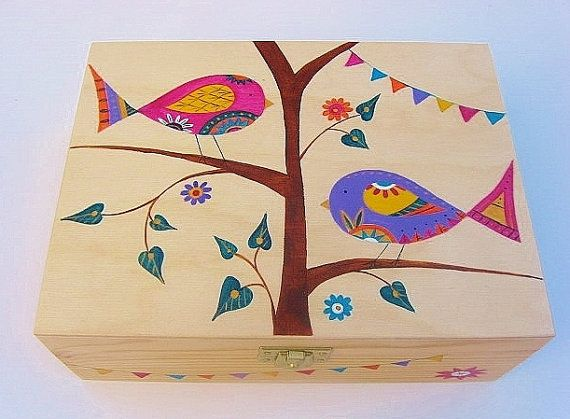 Valentine's Gift. Hand Painted Wooden Sewing or by funkyforesthome