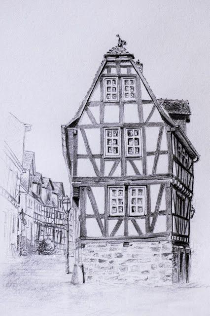 Fachwerk Mit Bleistift Hauser Zeichnen Gebaude Zeichnung Fachwerk