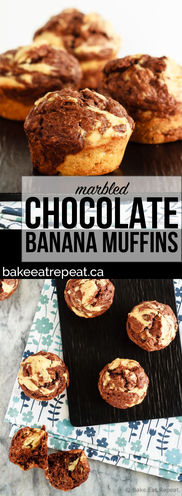 These marbled chocolate banana muffins, made with minimal sugar and plain Greek yogurt to keep them a bit healthier, make the perfect breakfast or snack!