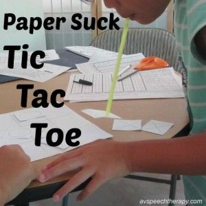 Games for #SpeechTherapy - Paper Suck Tic Tac Toe #slpeeps #slpbloggers