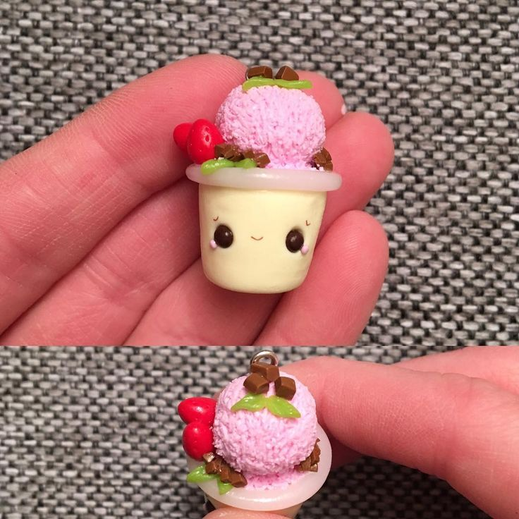 Heres another icecream I made together with the last ones. A strawberry and chocolate one.I know the right eye looks a little bit weird. #polymerclay#fimo#handmade#madebyme#diy#håndlaget#charm#kawaii#norway#craft#smile#love#october#chocolate#jewelry#thursday#icecream#craft#craftersofinstagram#claywork#leire#panduro#blush#little#iskrem