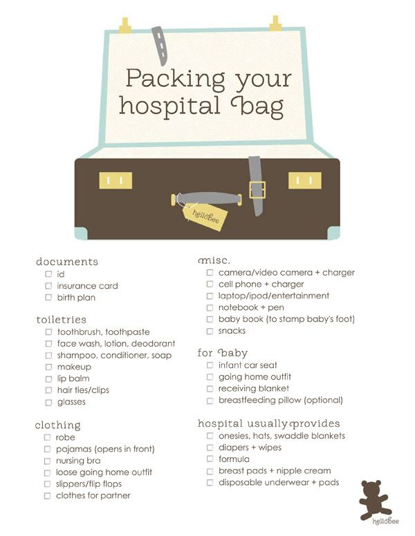Need to remember this and have it ready to go early in the pregnancy in case baby decides to make an appearance way before the due date. Also the list helps, I remember dad always having to bring me something. Of course, I never got a chance to pack a bag with any of you!