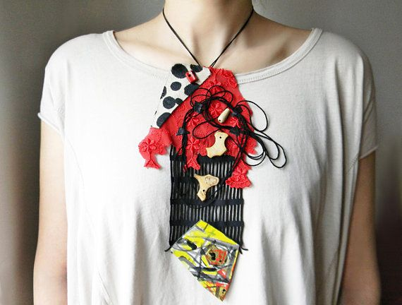 Mixed Media collage art bib necklace with black yarn and fabric lace in  black and red Avant garde contemporary artsy necklace Big necklace