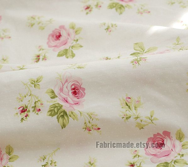 Large Rose Cotton Fabric Pink Dots On Off White Background Shabby Chic Flower Yard