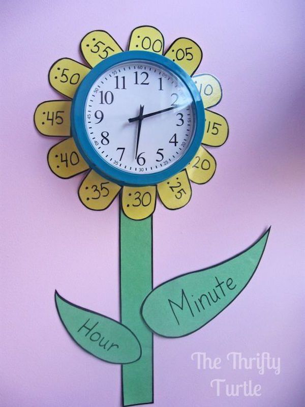 Remind or teach your kids how to tell time by creating a clock like this in their bedroom (or classroom if you're a teacher)
