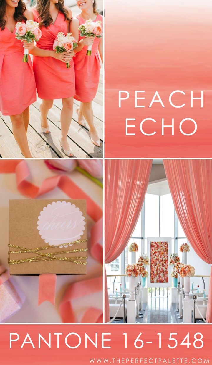 "Pantone - Peach Echo 16-1548   Peach Echo is the kind of color that exudes that, ""let's kick off our shoes and dance,"" kind of vibe! And when it comes to color pairings? Here lately I'm really loving when warm shades are paired together. For instance, why not pair a soft shade of yellow or a gorgeous shade of orange?"