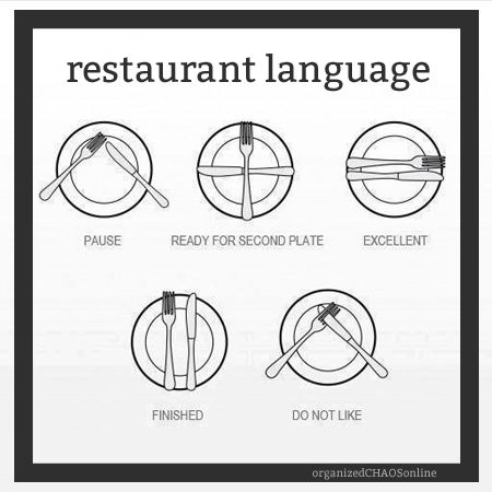 Restaurant Language  TIP OF THE DAY on organizedCHAOSonline #tips #lifehacks