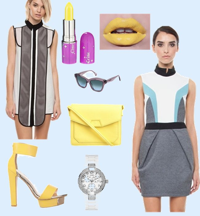 Bright Lights, Big City. Loving the yellow highlights in these outfit options.
