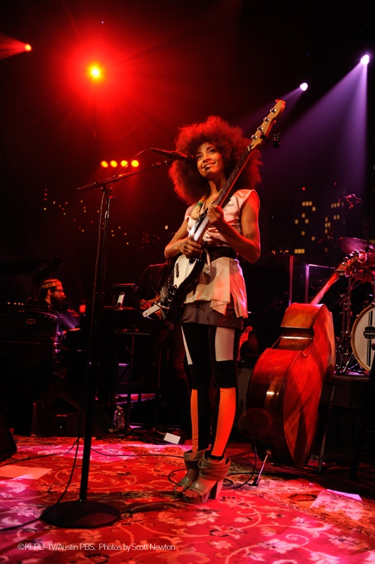 "Esperanza Spalding during her performance in Austin in ACL Live. She's wearing ""Mix/Cut/Paste"" shoes of the SHOP COLLECTION Spring_Summer 2013 WHAT'S MORE ALIVE THAN YOU™. #EsperanzaSpalding #GrammyMusicAwards #jazz www.whatsmorealivethanyou.com"