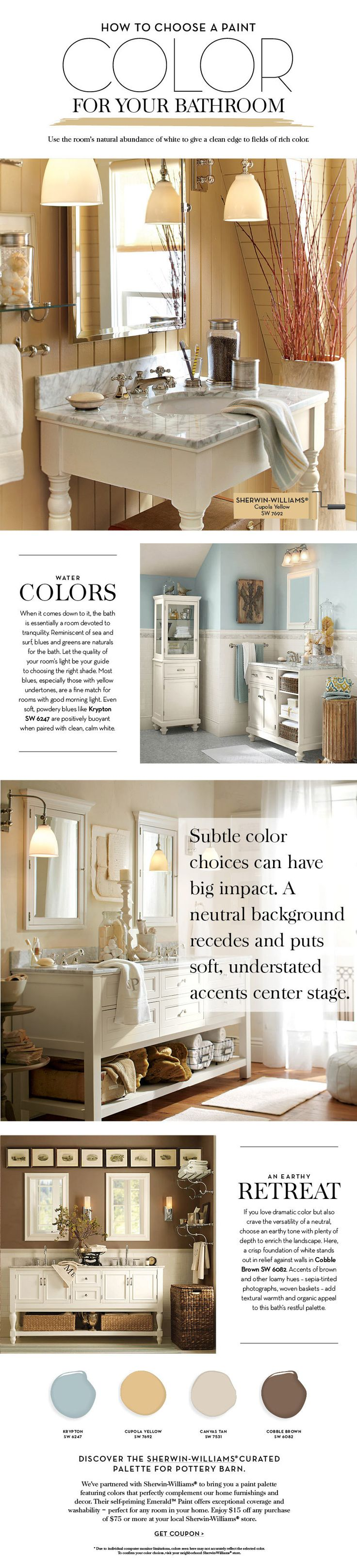 Paint colors for in bedroom traditional with exposed beams butter - Choose A Paint Color For Your Bathroom Pottery Barn