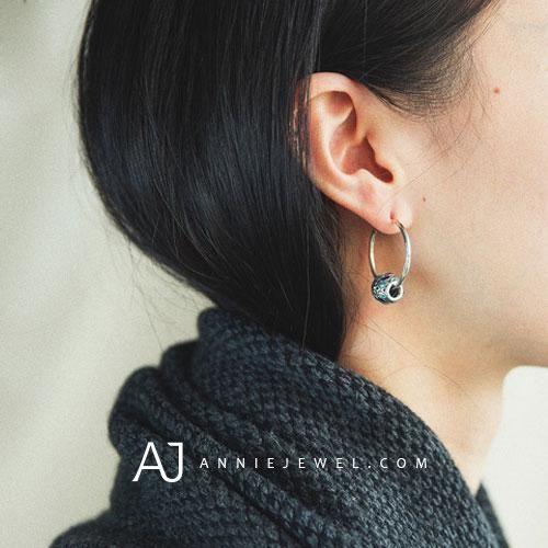 Silver Earrings Hoop Pandora Bead Dangle Drop Gift Jewelry Accessories Women