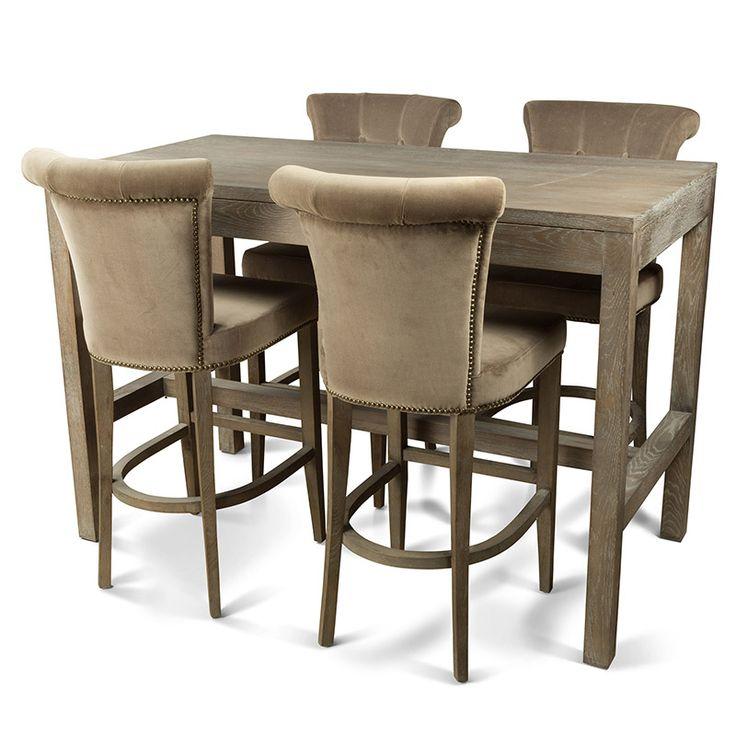 Mesa bar de madera con banquetas de terciopelo plomo