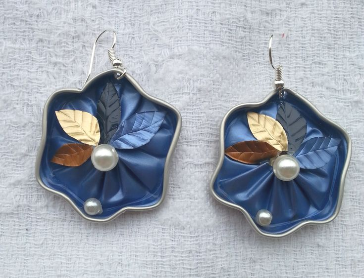 Le stelle azzurre - orecchini fatti con capsule Nespresso