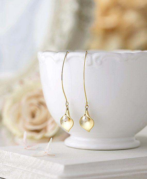 Gold Calla Lily Earrings Long Dangle Earrings Calla Lily Flower Jewelry Pearl Earrings Bridal Earrings Wedding Jewelry Gift for Wife Mom by LeChaim