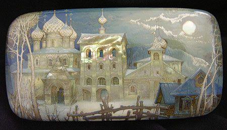 Kozlov Sergey, Fedoskino lacquer box, moonlight landscape