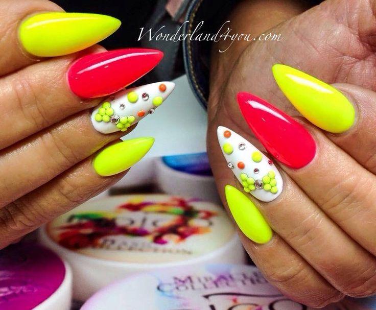 by Daria Michalska, Follow us on Pinterest. Find more inspiration at www.indigo-nails.com #nailart #nails #neon #yellow