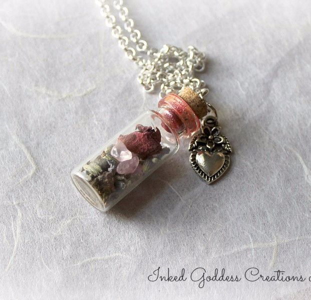 Loving Drawing Witch Bottle Amulet Necklace