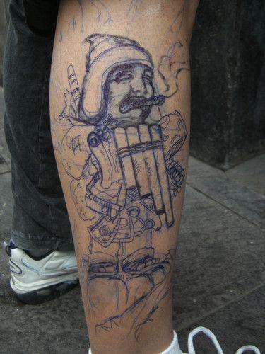 "el boceto kon humilde lapicero!! jejeje - ""ekeko chamaniko"".. fusion de personajes de nuestra cultura peruana...... muy divertido el disenho y tatuarlo tambien! grasias ala gente ke apoyo en la konvencionn valio la pena el esfuerzo.. 2do lugar categoria precolombino... disenho propio freehand.. freehand tattoo peru - Fotolog"
