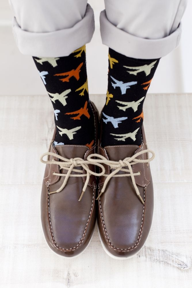 Mens 2 Pair Sockshop Planes Patterned and Striped Bamboo Socks £5.99
