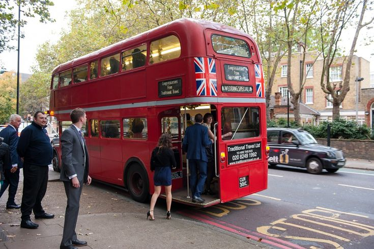 London routemaster bus wedding outside Southwark Registry Office | Photo by Kat forsyth Photography