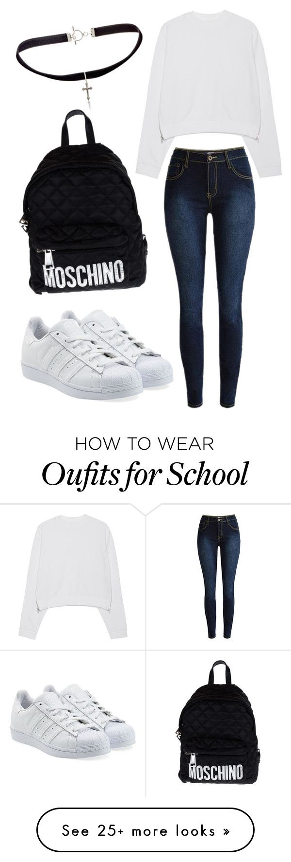 """School"" by musicmelody1 on Polyvore featuring Acne Studios, adidas Originals, Yves Saint Laurent and Moschino"