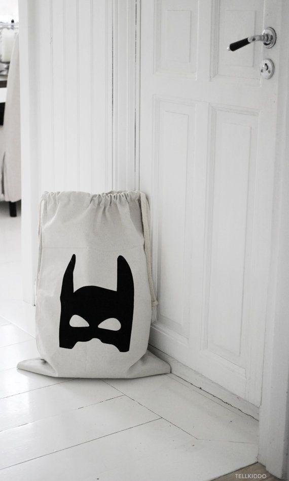 Superhero fabric bag storage of toys books or teddy by Tellkiddo