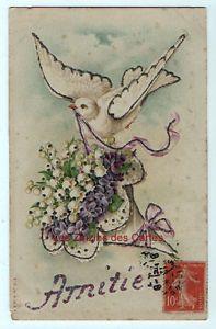 Carte-postale-ancienne-Colombe-Muguet-Violettes-Paillettes