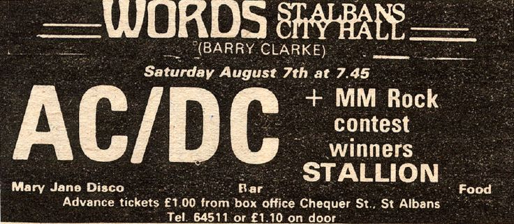 1976/08/07 - GBR, St. Albans, city Hall | Highway To ACDC : le site francophone sur AC/DC