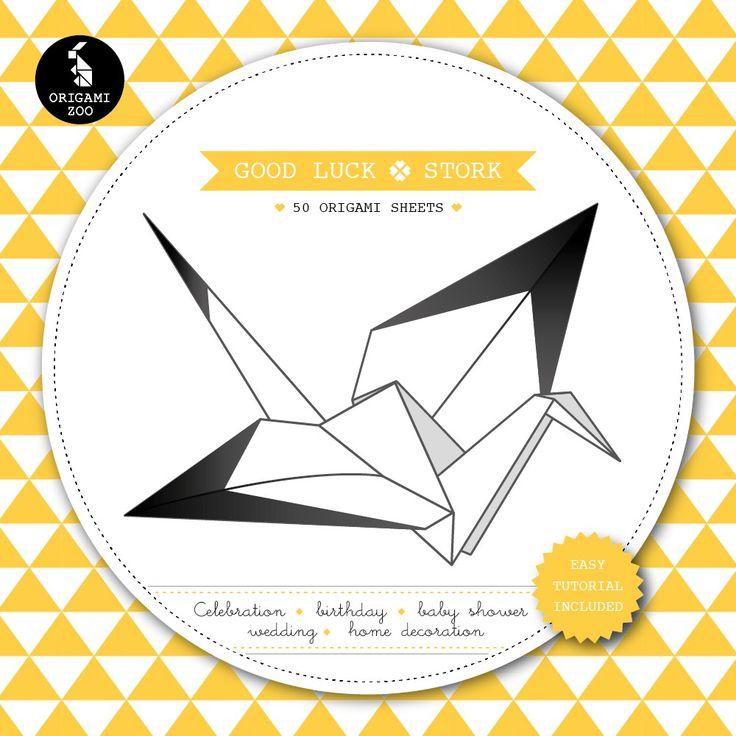 Origami vouwblok - Met dit origami vouwblok kun je 50 origami kraanvogels/ooievaars maken in de kleuren zwart, wit met mosterd. Vouw de origami dieren om iemand geluk, gezondheid en een lang en gelukkig leven te wensen of gebruik de vogels ter decoratie van een kraamfeest, trouwerij, verjaardag of gewoon voor thuis.  • Origineel cadeau voor als er een kindje is geboren. • Veel vouwplezier voor een regenachtige woensdagmiddag met de kinderen. • Ideale decoratie voor een babyshower, ...