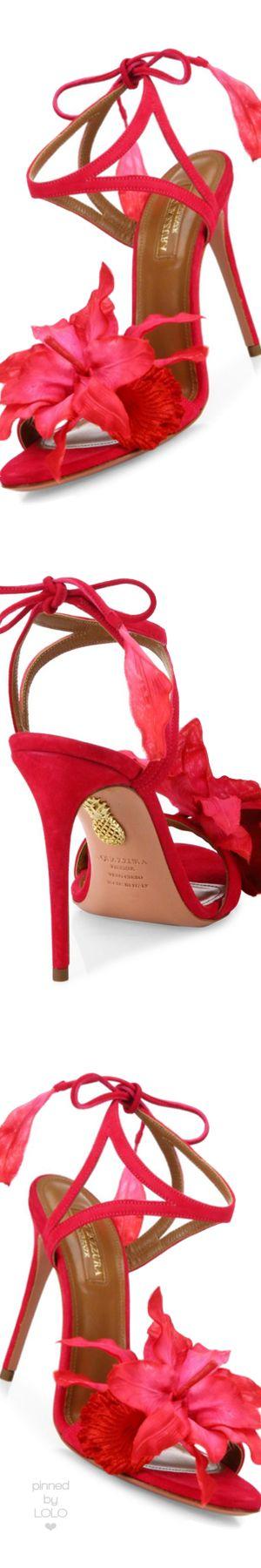 Aquazzura Flora Suede Back-Tie Sandals Paradise Pink
