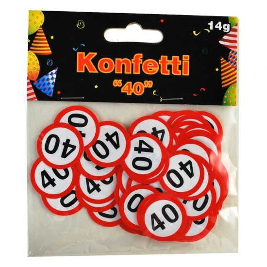 Confetti 40 jaar verkeersbord. Plastic confetti snippers 40 jaar. De confetti is dubbelzijdig gedrukt en circa 2,5 cm groot. Er zit 14 gram in een verpakking.